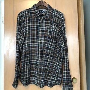 Volcom flannel snap up shirt